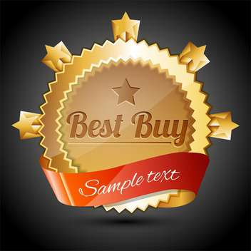 Vector golden sale badge with best buy text - vector gratuit #128554