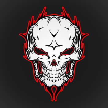 Vector illustration of burning skull - Free vector #128564