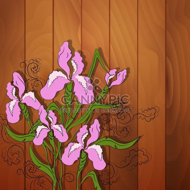 Vector illustration of iris flower on wooden background - Free vector #128634