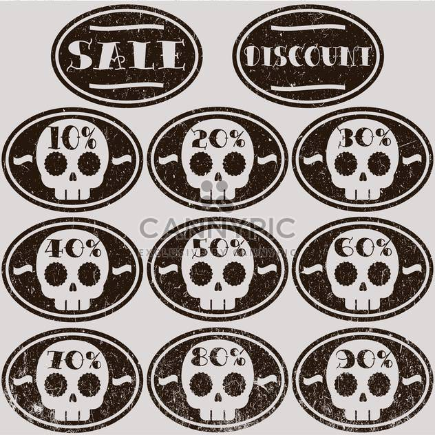 Set of vector sale skull stickers - Kostenloses vector #128674