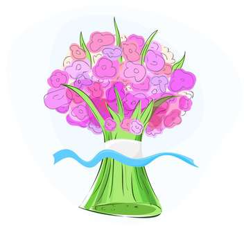 Vector illustration of pink flower bouquet - vector gratuit #128744