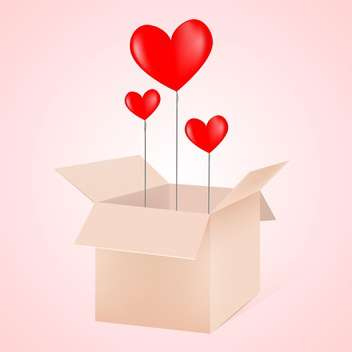 Open box with hearts as balloons vector illustration - Free vector #128754