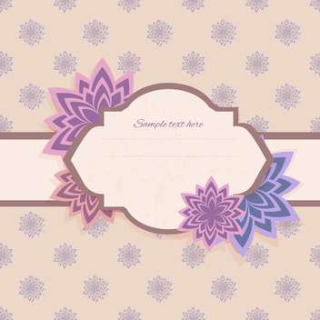 Vector floral violet background with frame - vector gratuit #128784