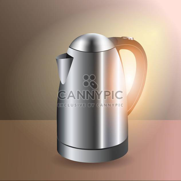 Vector illustration of metallic electric kettle - Free vector #128794