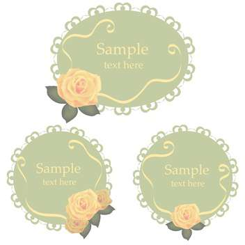 Vector floral lace frames with roses - vector gratuit #128854