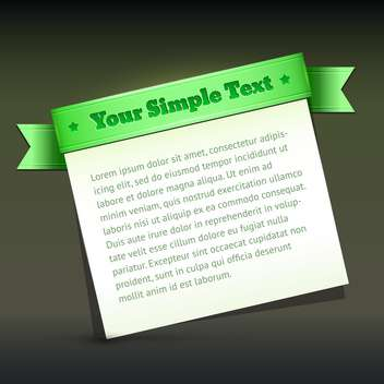 Vector banner with green ribbon and sample text - vector gratuit #128884