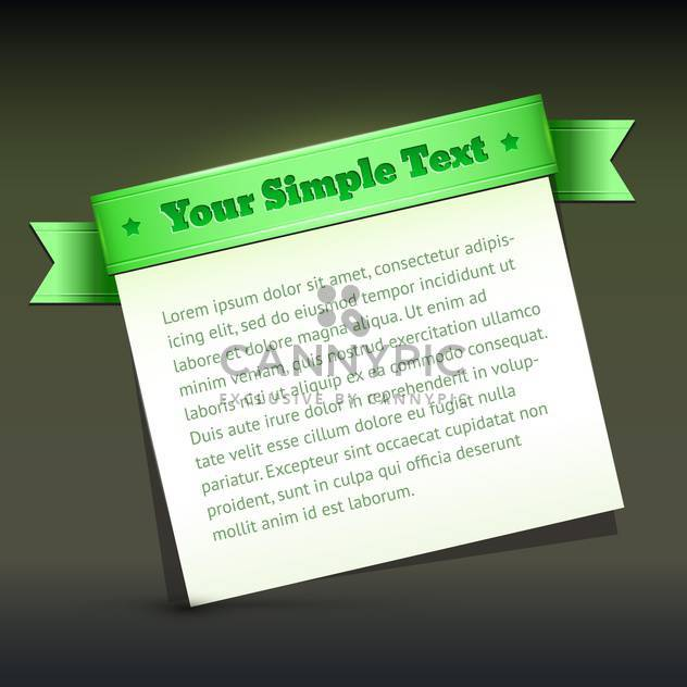 Vector banner with green ribbon and sample text - Free vector #128884