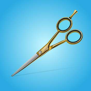 Vector illustration of golden scissors on blue background - Free vector #128904