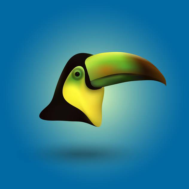 Vector toucan head illustration on blue background - vector gratuit #128944