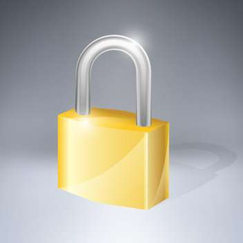 vector golden padlock icon illustration - vector gratuit #129054