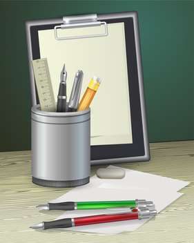 notepad with pens, ruler and pencil - vector gratuit #129064
