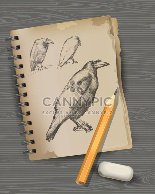 raven drawing with pencil and eraser - Kostenloses vector #129214