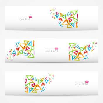 Abstract vector white cards with colorful triangles - vector gratuit #129294
