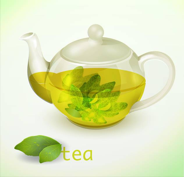 Vector illustration of glass teapot with herbal tea - бесплатный vector #129334