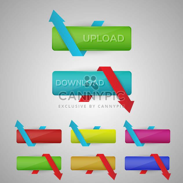 Vector illustration of colorful download and upload buttons - Free vector #129404