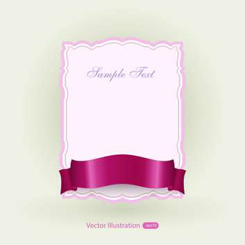 Vector pink banner with red ribbon - бесплатный vector #129474