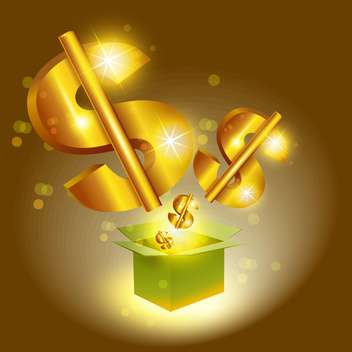 Vector illustration of golden dollar signs jump from box - Free vector #129484