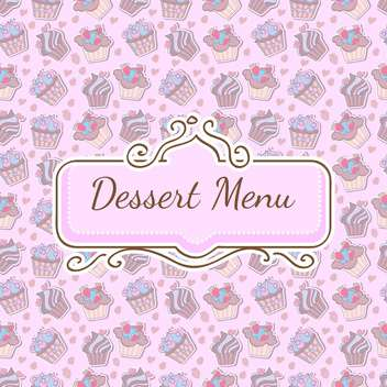 Vector seamless pink pattern with cupcakes and frame - vector gratuit #129544