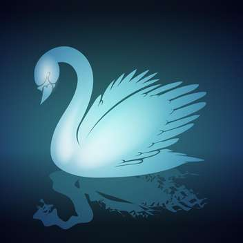 Vector illustration of blue swan on black background - vector gratuit #129574