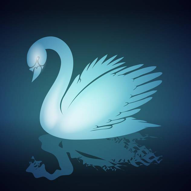 Vector illustration of blue swan on black background - Free vector #129574