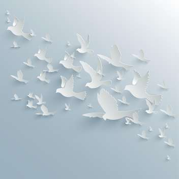 Vector background with paper pigeons on blue background - vector gratuit #129594