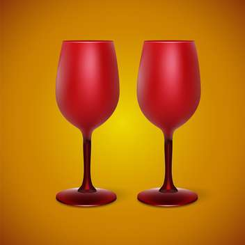 Vector illustration of red wineglasses on yellow background - бесплатный vector #129664