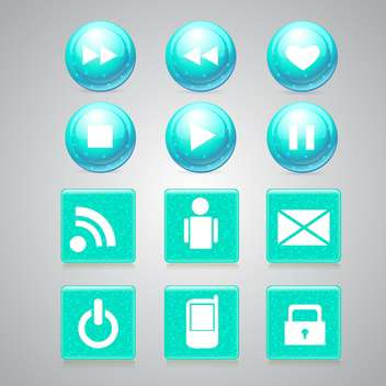 Vector set of glossy media buttons on gray background - Free vector #129674