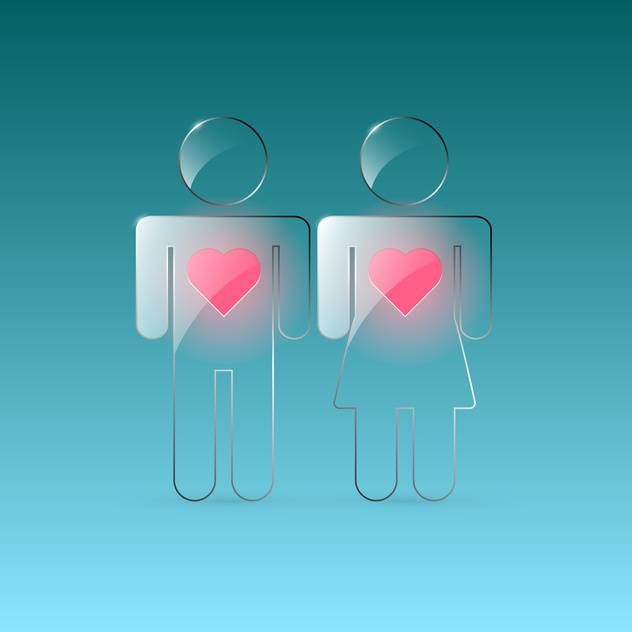 Vector transparent male and female signs with hearts on green background - бесплатный vector #129694