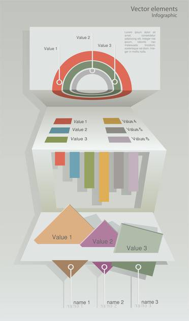 Vector paper origami infographic elements - vector gratuit #129724