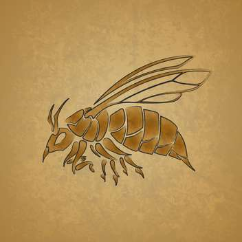 Vector illustration of yellow bee on yellow background - Free vector #129734
