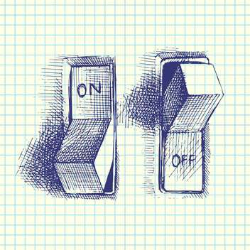 Vector hand drawn illustration of on and off switchers on checkered background - vector gratuit #129744