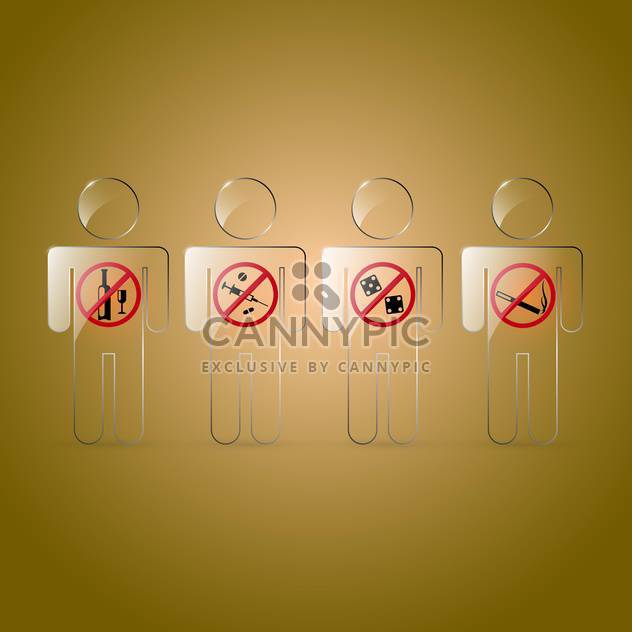 Vector set of prohibited signs on brown background - Free vector #129784