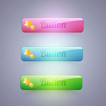 Vector set of colorful buttons with stars on gray background - Free vector #129794