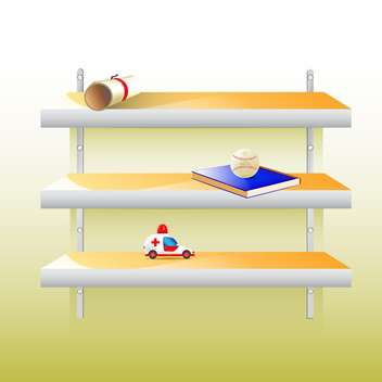 Vector stylish modern shelf with different things on wall - Free vector #129804