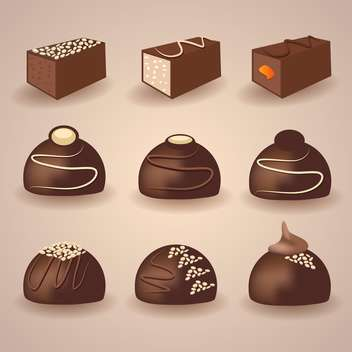 Vector set of chocolate candies on brown background - бесплатный vector #129824