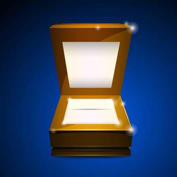 Vector illustration of open wooden box on blue background - vector gratuit #129944