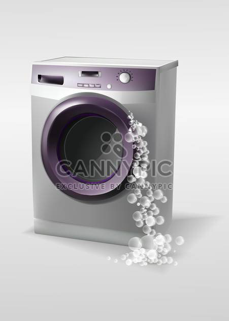 Vector illustration of washing machine with bubbles - Free vector #129994