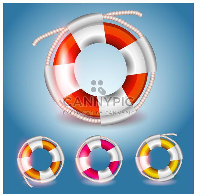 Vector colorful lifebuoys set on blue background - Free vector #130004