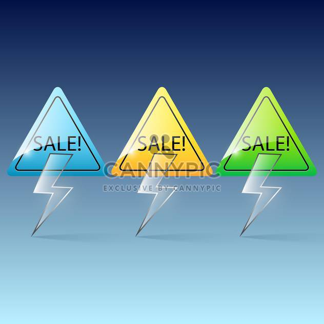 Vector colorful glass lightning sale banners on blue background - Free vector #130024