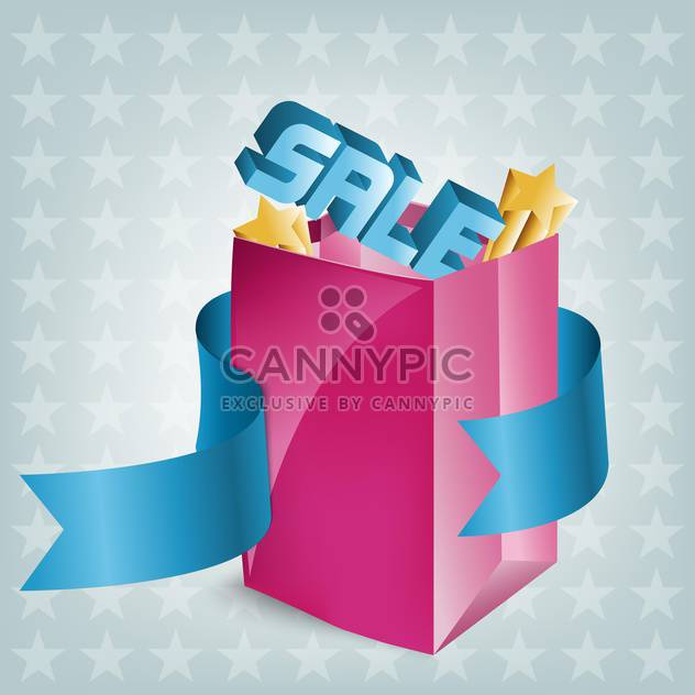 Vector illustration of pink shopping bag with sign of sale - Free vector #130084