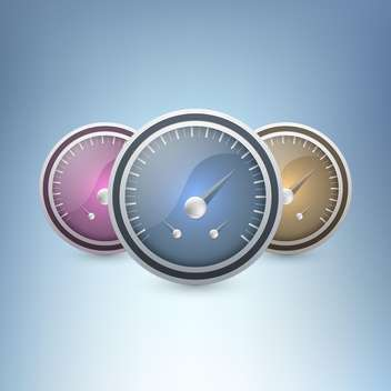 Three colorful speedometers on blue background - бесплатный vector #130104