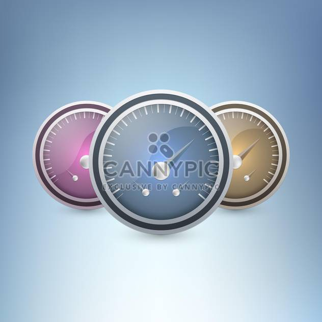 Three colorful speedometers on blue background - Free vector #130104