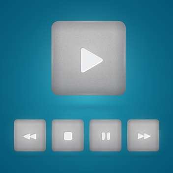Vector set of grey player buttons on blue background - vector #130144 gratis