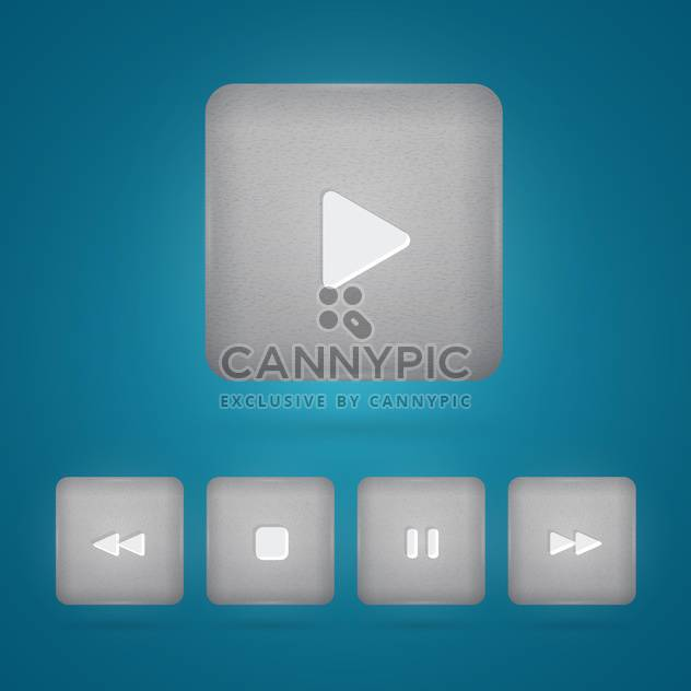 Vector set of grey player buttons on blue background - Free vector #130144