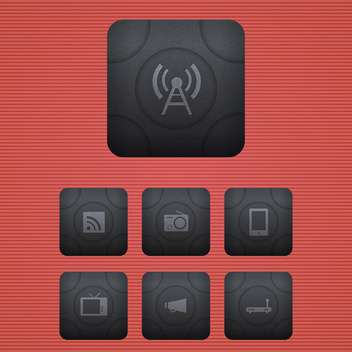 Vector communication icons set on red background - vector gratuit #130154