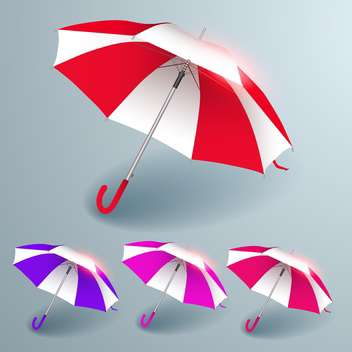 Vector set of colorful umbrellas on grey background - бесплатный vector #130174
