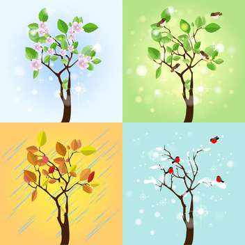 Vector illustration of four seasons tree - vector gratuit #130224