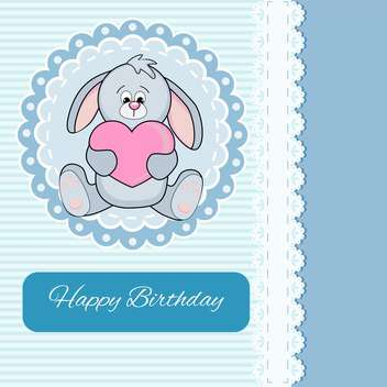 Vector Happy Birthday blue card with bunny holding pink heart - vector gratuit #130554