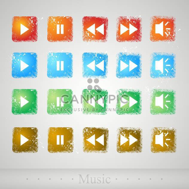 Multimedia colorful buttons on grey background - Free vector #130594
