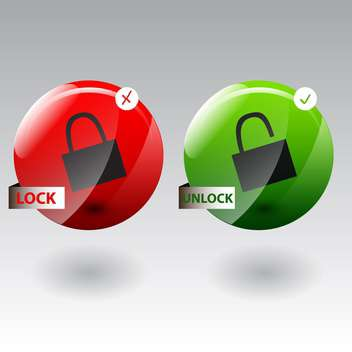 Vector illustration of security concept with locked and unlocked pad lock - vector #130624 gratis